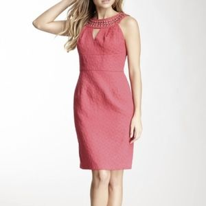Muse Cerise Pink Beaded Cocktail Sleeveless Dress
